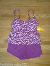 New Womens Cabana Swimsuit Purple Tankini Top Shorts Bottom Large 14 NWT
