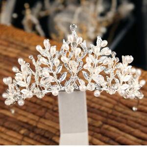 Handmade Pearl Crystal Crown Bride Hair Jewelry Wedding Tiaras Headpieces Wh-xd
