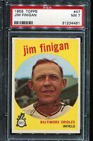 1959 Topps Baseball #47 JIM FINIGAN Baltimore Orioles PSA 7 NM