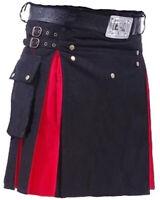 "Blue Leather Straps Fashion Kilt Scottish Utility Kilts For Men Size 28/"" to 50/"""