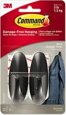 Command Designer Hooks, Plastic Black 3 lb Cap 2 Hooks and 4 Strips Hold Strong