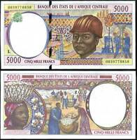 GABON CENTRAL AFRICAN STATE 5000 5,000 FRANCS 2000 P 404 L UNC