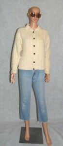VTG EMERALD DESIGN Cream Chunky Wool Knit Cable Aran Boxy Collared Cardigan S