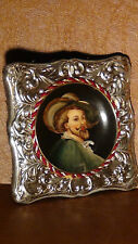 "ANTIQUE SIGNED MINIATURE PAINTING ON PORCELAIN""PETER PAUL RUBENS""STERLING FRAME"