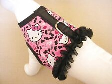 Ruffle Dog Harness Vest Clothes Apparel Made From Cheetah Hello Kitty Fabric