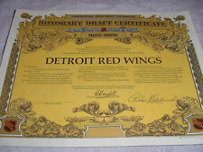 """1975-76 DETROIT RED WINGS UNUSED """"HONORARY DRAFT CERTIFICATE"""" (NICE CONDITION)"""