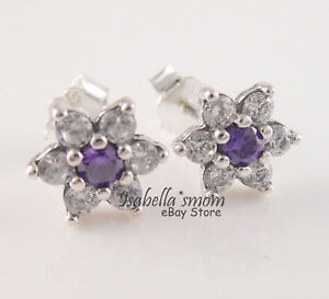 FORGET ME NOT Authentic PANDORA Clear PURPLE Earring Studs 290690ACZ NEW w POUCH