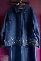 Ladies Casual & Co Denim 2 Piece Dress & Jacket Embroidered Cotton Size 3XL New