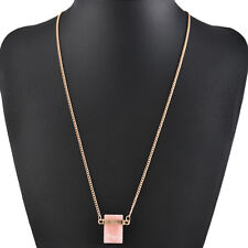 Wholesale Cubic Zirconia GemStone Necklace Gold Plated Pendant Long Chain Gift