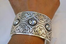 NWT Authentic Brighton Love Padlock Silver Crystal Wide Hinged Cuff Bracelet $88