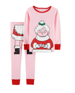 Carters Toddler Girls 2-Piece Mrs. Clause Cotton PJs Pajama Set NEW Tags 2T 4T