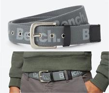 BENCH Webbing Belt Men's Size M/L TRANSFER Grey Canvas Logo Pin-Buckle Belts New