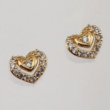 Hot Nice Sweet Heart White CZ Gem Jewelry Yellow Gold Filled Stud Earrings h2690