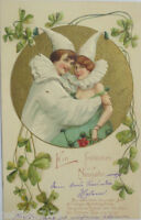 """"""" New Year, Harlequin, Cloverleaf """" 1902, Gold Embossing Card (10739)"""