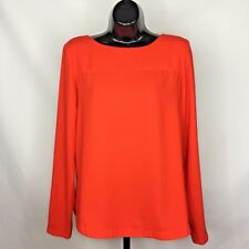 Cremieux Blouse Top Womens Size Small Long Sleeve Zip Back  Halloween Orange
