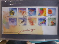 NEW ZEALAND 2001 GREETINGS SET 10 STAMPS FDC FIRST DAY COVER