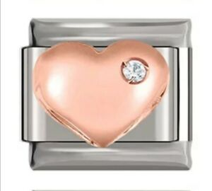 HEART Rose Gold with gem -Charm-Fits Nomination- NEW in Gift Pouch -NC53