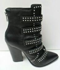 Women's Steve Madden New Black Leather High Heel Ankle Boots Size UK 3.5 EUR 37