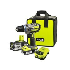 Ryobi One+ 18V Brushless Motor Drill Driver Kit +20% Power Two Batteries