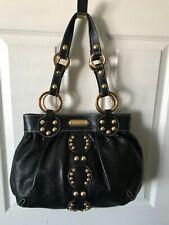 Isabella Fiore Handbag Black Studded O Ring Shoulder Tote Purse