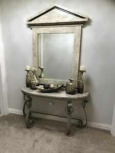 Marble Console Entry Table With Mirror 2 Pcs Set Hall Way Entry Accent