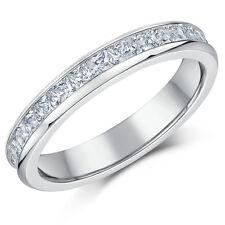Ladies Titanium Full Eternity Ring Princess Cut 4mm Engagement Wedding Band Cz