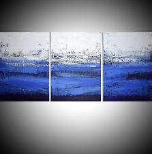 LARGE 3 PANEL ABSTRACT TRIPTYCH CANVAS WALL ART ABSTRACT BLUE MULTI PANEL ART