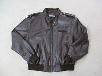 VINTAGE Members Only Jacket Adult Large Brown Leather Full Zip Coat Mens 80s