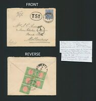 1902 GB KEVII COVER TO MELBOURNE, 2,5d & 5d VICTORIA POSTAGE DUES ON REV
