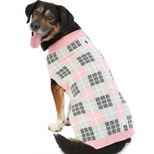Petrageous Designs Dog Sweater PIPERS PLAID SWEATER PINK GRAY LARGE NWT