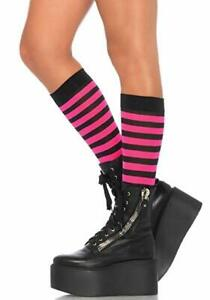 Striped Knee Highs for Adults Black/Hot Pink by Leg Avenue