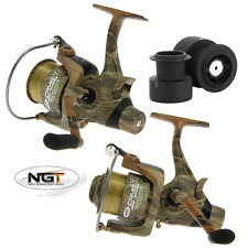 2 x NGT CAMO 60 CARP RUNNER FISHING REELS WITH 12LB CAMO LINE + SPARE SPOOL