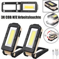 3x LED COB KFZ Arbeitsleuchte Akku Werkstattlampe Taschenlampe Handlampe Magnet