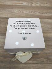 Shabby Chic Personalised Godmother Gift Christening Keepsake Box Birthday