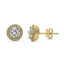 Yellow Gold Plated Halo Cz .925 Sterling Silver Earrings