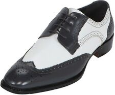 Bolano Mens Grey And White Two-Toned Smooth Oxford With Wing-Tip  Elwyn-011