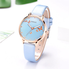 Rose Gold Butterflies Women's Wrist Watch Leather Band Ladies Gift Box