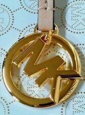 Michael Kors MK Logo Gold Charm / Oyster Pink Saffiano Leather Strap Handbag Fob