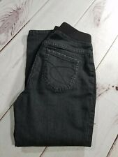 "Black Maternity Jeans Pull-on Elastic Waist Short Leg Capri Size 27 Inseam 23"""