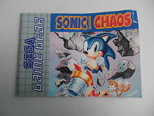 Sonic Chaos Sega Game Gear Manual only