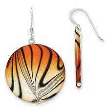 925 Sterling Silver Mother of Pearl Orange and Black Disc Earrings 31mm x 50mm