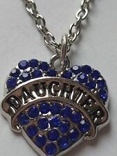 BLUE  DAUGHTER FAMILY GIFT CRYSTAL LOVE HEART PENDANT RHINESTONE NECKLACE