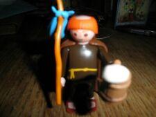 Playmobil Wandering Monk Figure Medieval Friar 3631 Cloak Stick Sack Blue Bag