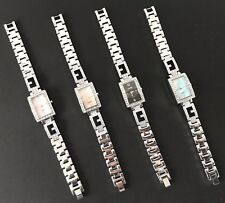 Omaki Ladies Alloy Bracelet Quartz Square Diamante Shell Dial Fancy Wristwatches
