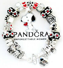 PANDORA 925 Silver Charm Bracelet + European Charms Black Red White Snoopy Dog