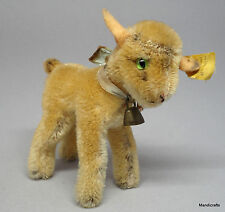 Steiff Zicky Goat Mohair Plush 10cm 4in ID Button Tag 1950s Glass Eyes Bell Vtg