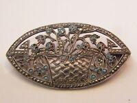 Broche Panier Fleuri en Argent Massif Marcassite Turquoises Silver Silber