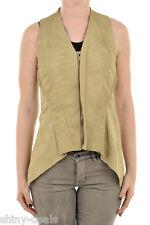 RICK OWENS Woman Sleeveless Jacket NASKA HALTER BIKER Gilet Vest Leather 40 it