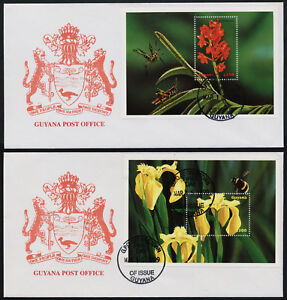 Guyana 3388-9 on FDC - Flowers, Insects, Bee