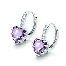 18K White Gold Filled Heart Purple Amethyst White Topaz Promise Wedding Earrings